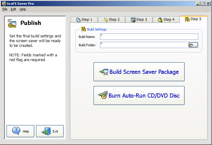 Finally, choose Step 5, Publish, to build your screen saver installation package!